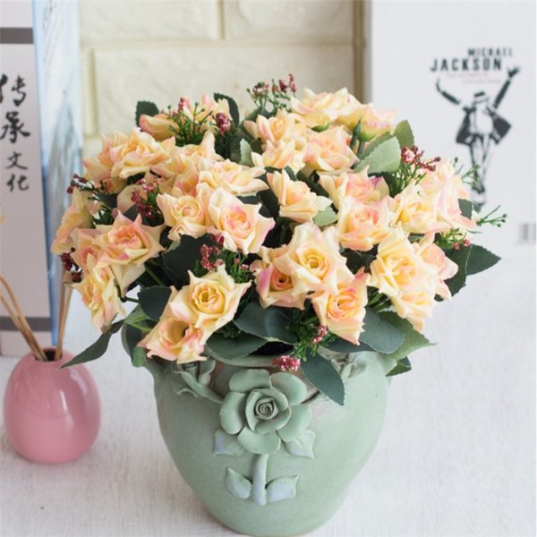 Korean Fake Oil Painting Rose Bunch (5 stems/piece) Simulation Curling Roses for Wedding Home Showcase Decorative Artificial Flowers