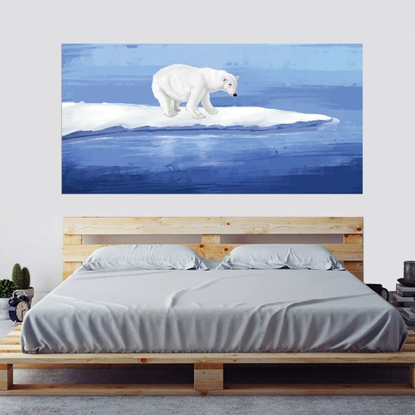 2pcs/set Watercolour Polar Bear Sea 3D Bedside Art Mural Sticker Home Decor Bedroom TV Sofa Wall Poster PVC Animal Wall Sticker