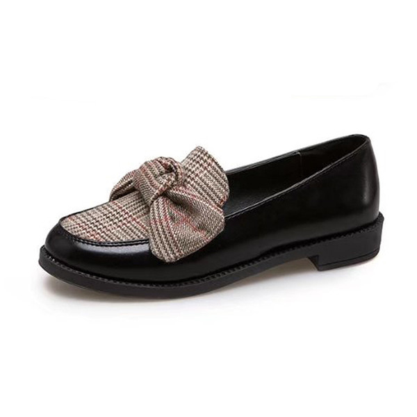 Dress Shoes Women Leather Loafers Fashion Knitting Butterfly-knot Casual Woman Low Square Heel Slip On Female Black Moccasins