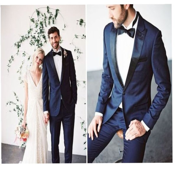 Handsome Dark Blue Groom Suits Black Peaked Lapel Wedding Tuxedos For Best Men Slim Fit Prom Suits (Jacket+Pants +Bow)