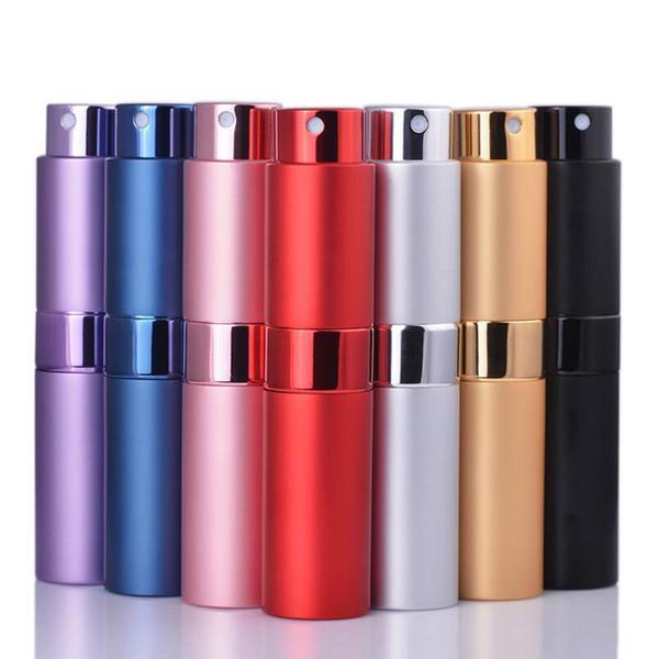 8ML 15ML Tragbare rotierende Sprühflasche aus eloxiertem Aluminium Parfümflaschen Glas Parfüm Öle Diffusoren Make-up Atommizer Spray Abfüllrohr