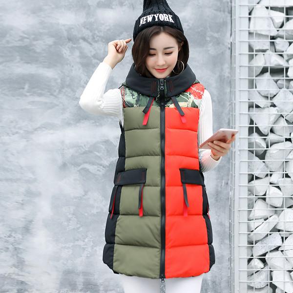Streetwear Autumn Long Vest Hooded Zipper Winter Padded Coat Jacket Pockets Slim Womens Winter Vests Outerwear