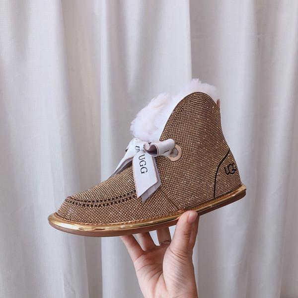 Snow Boots Female New Winter Fur Un simpatico giapponese Bow più velluto Stivali tubo corto di modo selvaggio di cotone impermeabile scarpe calde
