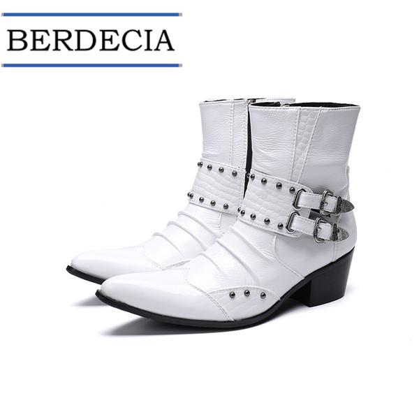 2019 Motorradstiefel Fashion White Echtes Leder Herren Stiefel Schnalle Nieten Herren Stiefeletten Plus Size Spitz Cowboy Schuhe