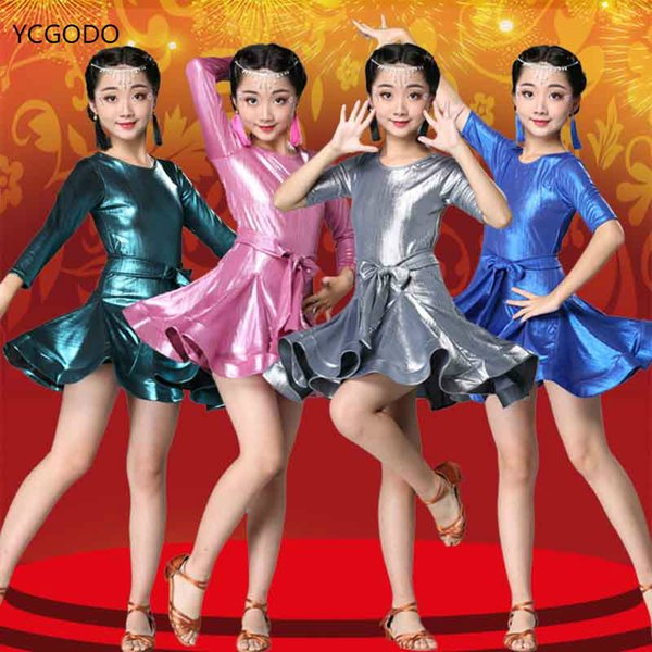 Стандартное платье латинского танца для девочек Платья для бальных танцев Детская сальса-румба ча-ча-самба танго