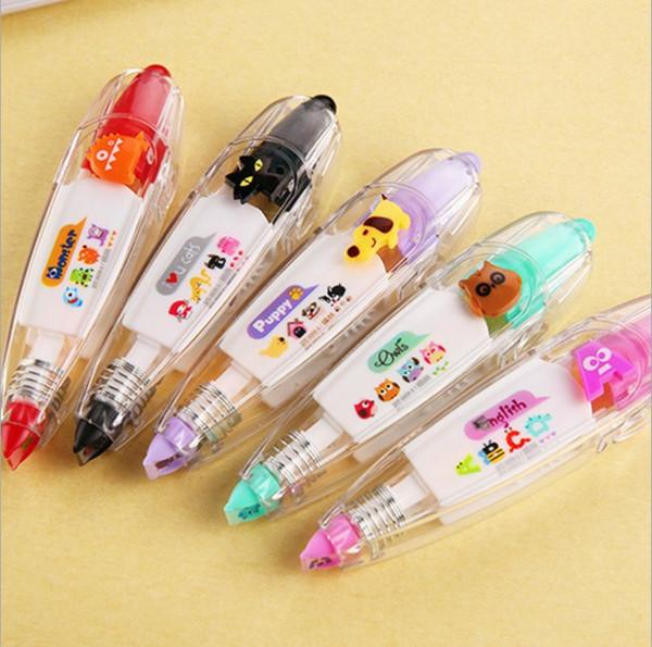 21 designs stylos ruban autocollant enfants bandes de décoration de papeterie stylo ruban floral doux autocollant drôle étiquette autocollant de bande de correction papier 18-708