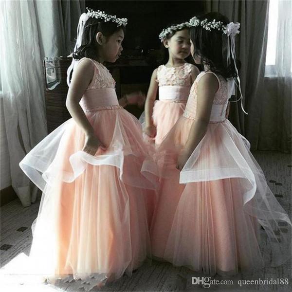 2019 Little Princess Flower Girls 'Vestidos Encaje Joya Cuello Cremallera Volver Boda Vestido Invitado Tulle largo Una línea Vestidos de fiesta