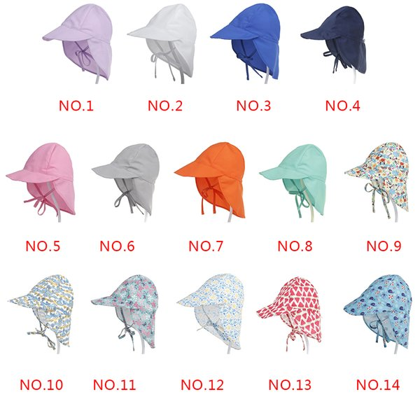 Summer Hats For Baby Girls Boys Sun Hat Quick Dry Beach Cap Children Outdoor Neck Ear Cover Flap Caps Adjustable UV Protection