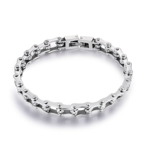 Pure Neutral Classic 316l Stainless Steel Bracelets Crystal Motorcycle Chain Silver Bracelets 10mm Wide 17cm~22cm Length Ym001 J190625