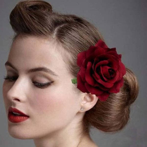 2 in 1 Artificial Big Rose Flower Hairpin Hair Clips Flower Brooch for Women Party (Dull Red) Fashion Women Apparel Accessories