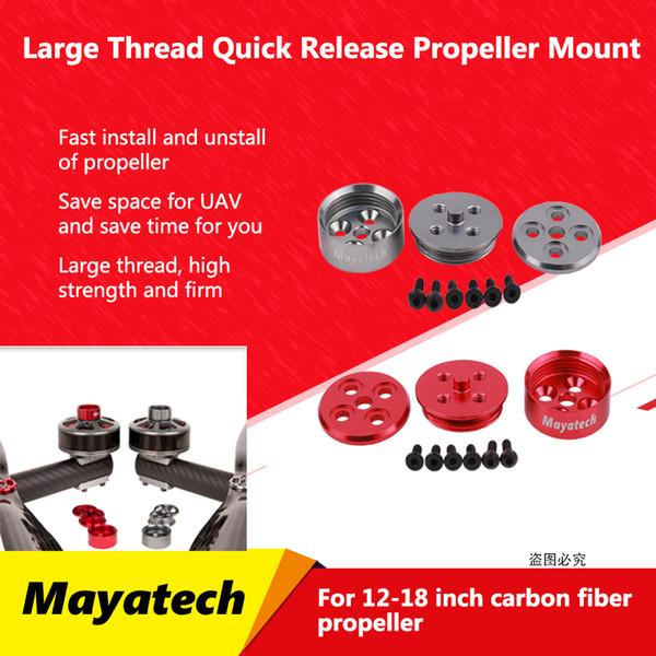 Mayatech Grande Discussione alluminio rotonda Quick Release Elica Sedile CW CCW adattatore dell'elica RC Drone per 12-18 pollici Propeller