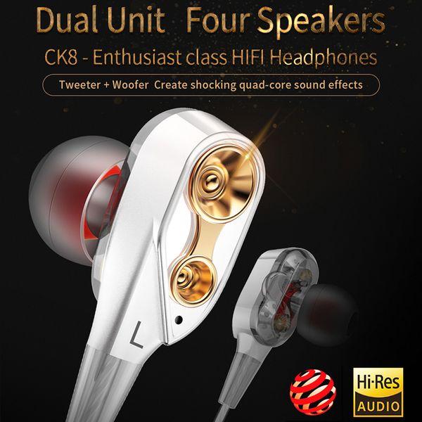 Fones de ouvido fio New Fashion CK8 fones de ouvido de dupla ação bobina em execução jogo de música fones de ouvido HIFI suporte 2 PCS entrega