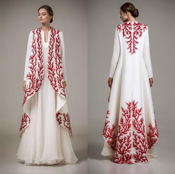 Elegante blanco y rojo Apliques Vestidos de noche Ashi Studio De manga larga Una línea Vestidos de baile Ropa formal Vestidos de fiesta para mujer del cabo DH355