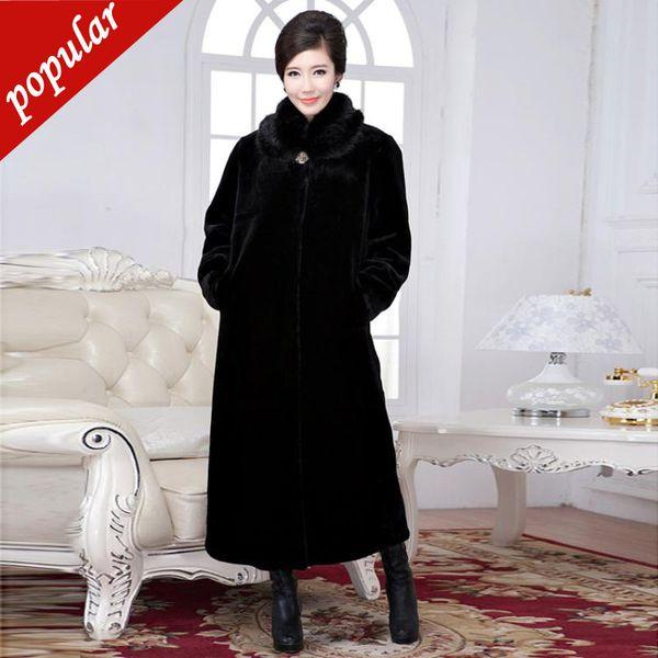 New Winter Women Fashion Faux Coats Collar Long Giacche Femminile Large Imitazione Pelliccia di visone Capispalla S-4xl W752