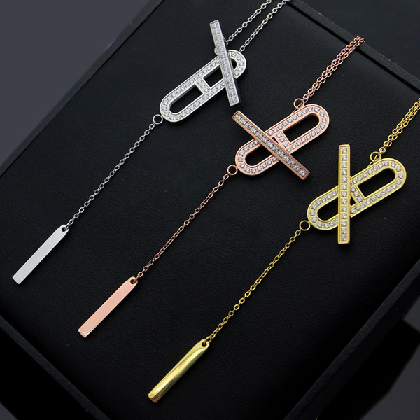 New Arrive Fashion Lady 316L Titanium steel OT Clasp H Letter 18K Plated Gold Necklaces With Tassels Pendant Engagement Gift 3 Color