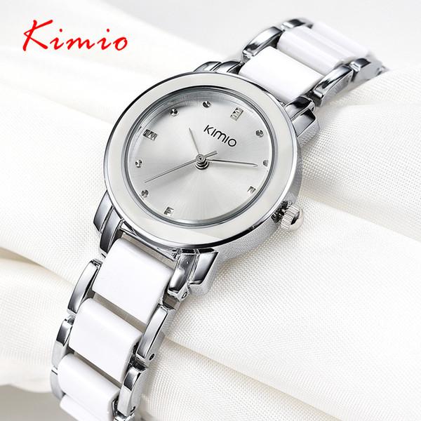 Kimio 2018 Marca Senhoras Imitação De Cerâmica Relógio De Luxo Pulseira De Ouro Relógios Com Alça Fina Das Mulheres Cinta Vestido de Presente Caixa de Presente MX190720
