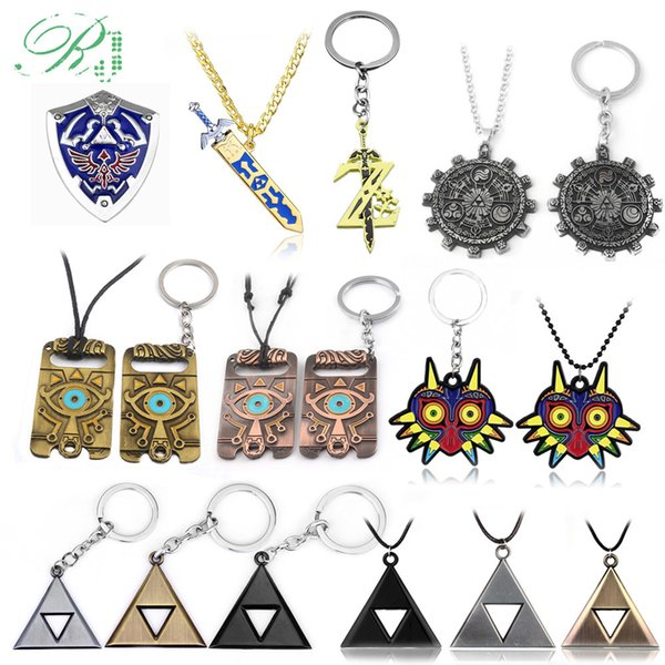 10pcs Rj New Legend Zelda Logo Necklace Pendants Sword Z Triangle Breath Of The Wild Owl Triforce Shield Car Keyring Men Jewelry C19041203