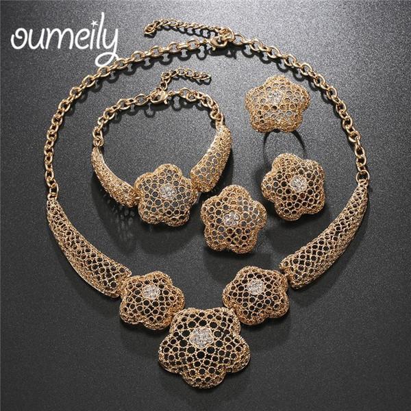 OUMEILY Dubai Schmuck Set Luxus Gold Farbe Big Nigerian Hochzeit Afrikanische Perlen Schmuck Set für Frauen Kostüm Design