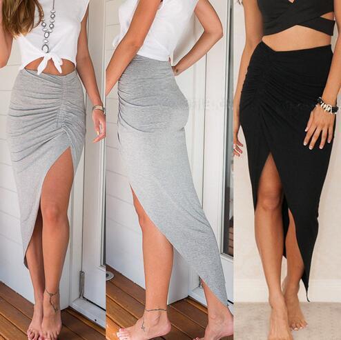 Sıska Yarık Maxi Uzun Kalem Etek Yeni Gelen Toptan Boyut 6-16 Etekler Yeni Moda Bayan Bayanlar Dantelli Yan Bölünmüş Ince