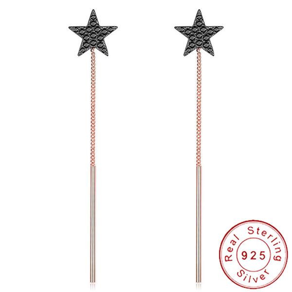 Korean Elegant 925 Silver Star Earrings Dangle Black Micro Pave CZ Earrings Minimalist Rose Gold Tassel Chain Jewelry CZSE128