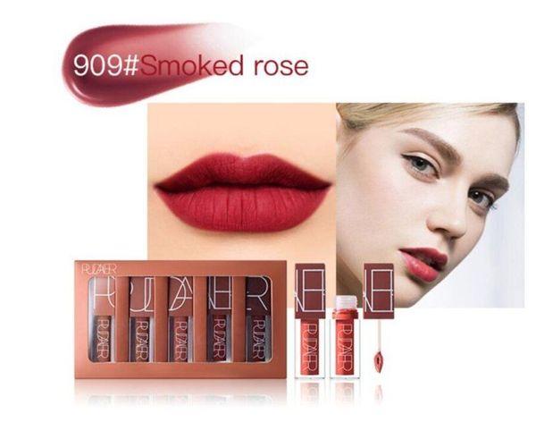 Pudaier brand 5 colors matte liquid lipstick set nude brown chocolate rose lipstick kit lip gloss matte lips waterproof