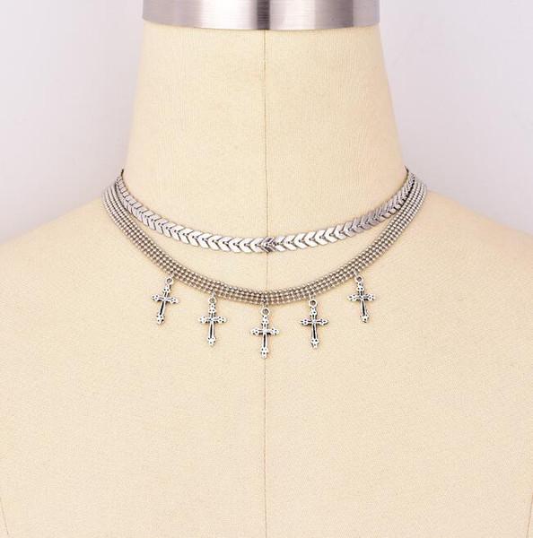 Collana multistrato Boemia Collana girocollo Ciondoli trasversali Ciondoli moda per donna Argento Chunky Catena 2 Disegni Accessori fatti a mano