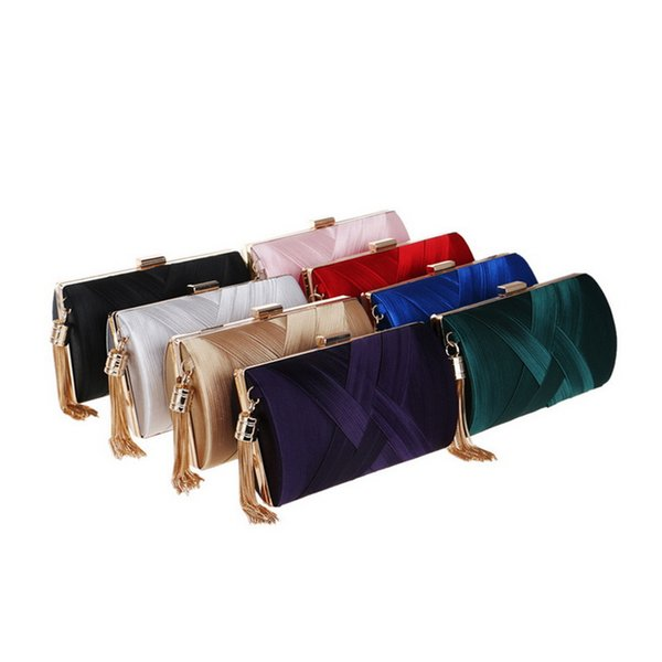 Women Silk Evening Handbag 17.5*11*7cm Multi Color Tassel Zipper Clutch Bag for Gift Wedding Party Fashion Accessories