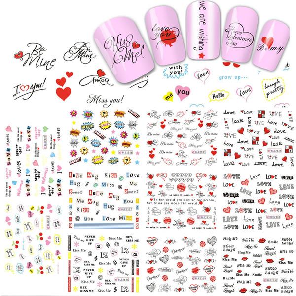 11 Design NOUVEAU Valentine Stickers Nail Art Sticker Stickers Eau Beauté Lettre Amour pour Décor Polonais Outils DIY BLE2524-2534
