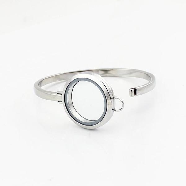 Wholesale-Hot Sale Design 7inch Silver Plain 316L Stainless Steel Floating Locket Bangles Bracelets 30mm Free Shipping