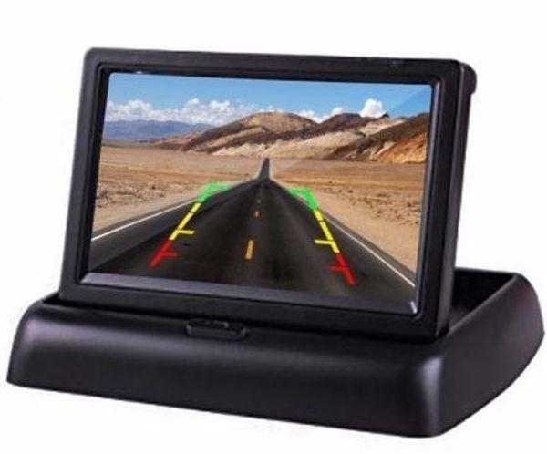 4.3 Polegada TFT LCD Monitor Do Carro Dobrável Monitor de Câmera Reversa Sistema de Estacionamento para o Carro Retrovisor Monitores NTSC PAL