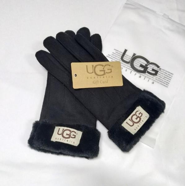 Femmes Ski Gants Sports de plein air Marque Designers Fourrure Cuir Five Fingers Gants Solide Couleur d'hiver en plein air chaud marque Gants en cuir