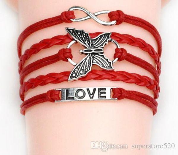 2018 45 stili bracciali infinity bracciali Love Believe Pearl Friendship Charm Braccialetti multistrato in pelle per donna