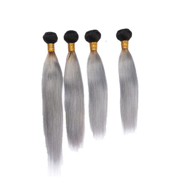 Double Wefted 1B Grey Color Silky Straight Hair Weaves 4Pcs/Lot Ombre Silver Grey Color Silky Straight Hair Extension 400g