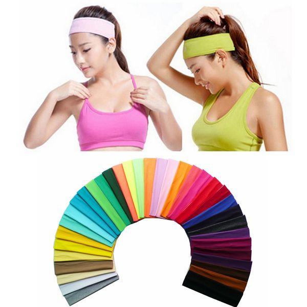 35 colores Mujeres Sólido venda de la venda de la cabeza Yoga estiramiento Deportes Hairband Turbante Gym Head Band Accesorios para el cabello AAA2090