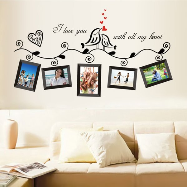 Carta da parati creativa Birds Family Tree nero parete Stickers Home Decor Soggiorno Photo Frame parete autoadesivi DIY Nural Art Pvc