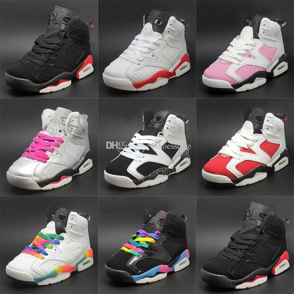 2019 Yeni Çocuk brethable Basketbol Ayakkabı 6 Siyah Playoff Atletik Çocuk Sneaker Boy Kız ayakkabı Kız Doğum Hediye eur 28-35