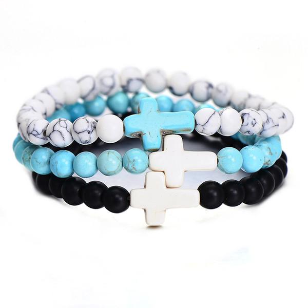 Handmade Boho Schmuck Kreuz Armbänder Trendy Stil Elastische Seil Natürliche Perlen Armband Für Frauen Geburtstagsgeschenk Großhandel