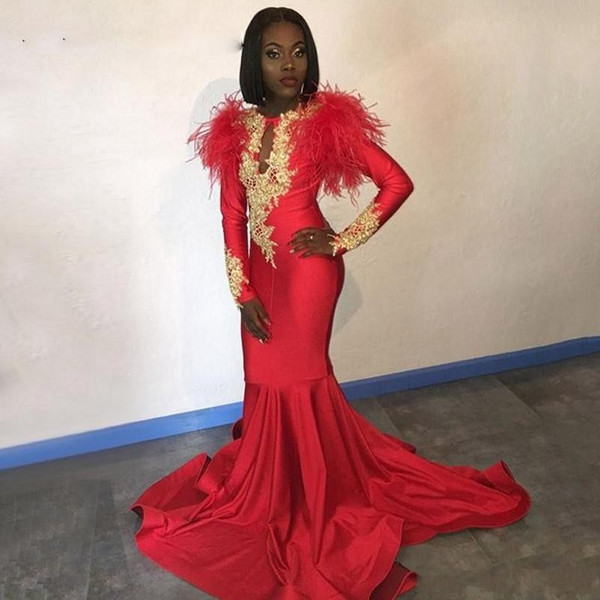 Modest African Red 2K19 Evening Dresses Long Sleeves Gold Appliques Feathers Satin Formal Mermaid Prom Dress Black Women Party Gowns