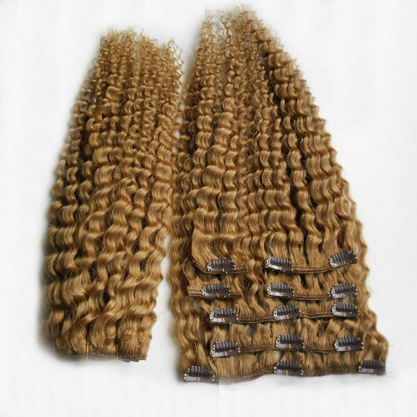 Branqueamento Loira Cor Brasileiro Kinky Curly Weavng Weave 100% Cabelo Humano Weave 6a Não Transformados Virgin Clipe Em Extensões Do Cabelo