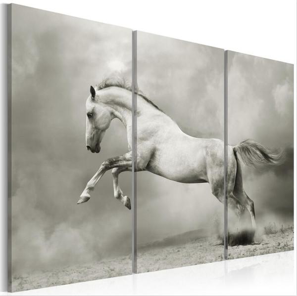 (Hiçbir Çerçeve) Tuval Baskı Modern Soyut Beyaz At Atlama Posteri Ev Duvar Dekor Boyama Tuval Baskı Sanat HD Baskı Boyama