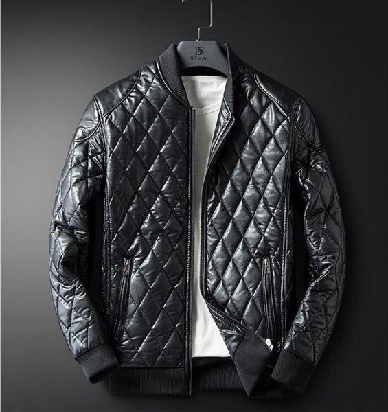 Free shipping 04 new fashion plaid leather jacket men's autumn and winter plus velvet warm PU leather men's motorcycle clothing men's jacket