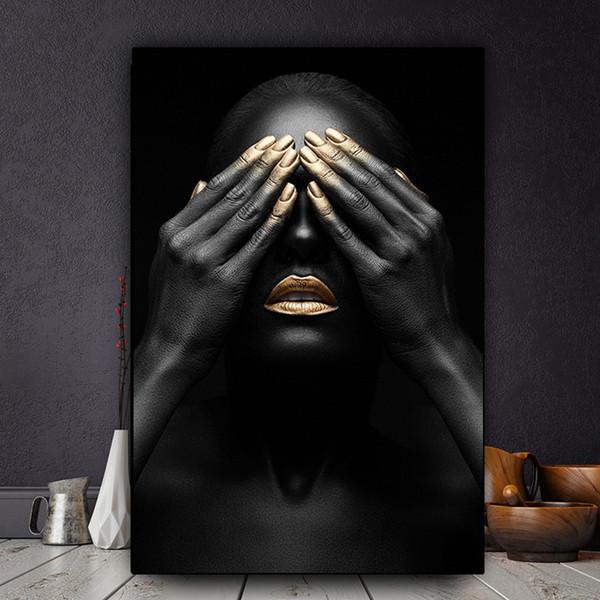 Black Hand und Gold Lip Nackte Frau Ölgemälde auf Leinwand Cuadros Poster und Drucke African Wall Art Bild No Framed