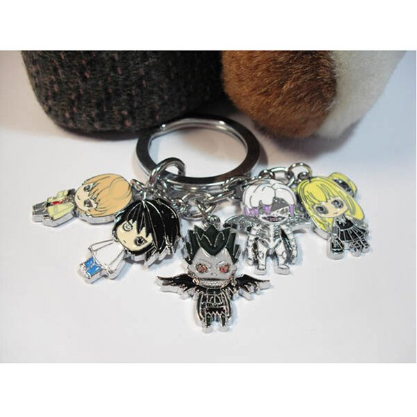 Anime Death Note Metal Keychain with Mini Lawliet Yagami Light Ryuuku Misa Amane Pendants for Men Women Gift Cosplay Accessories