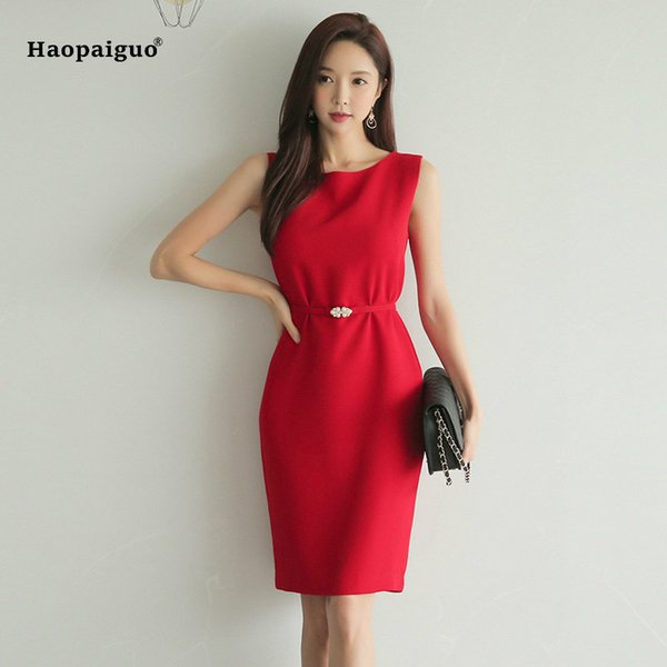 2019 2018 Plus Size Pencil Dress Women Summer Red Sleeveless Tank O Neck  Elegant Office Lady Korean Dress Casual Party Ladies Dresses Y19042401 From  ...