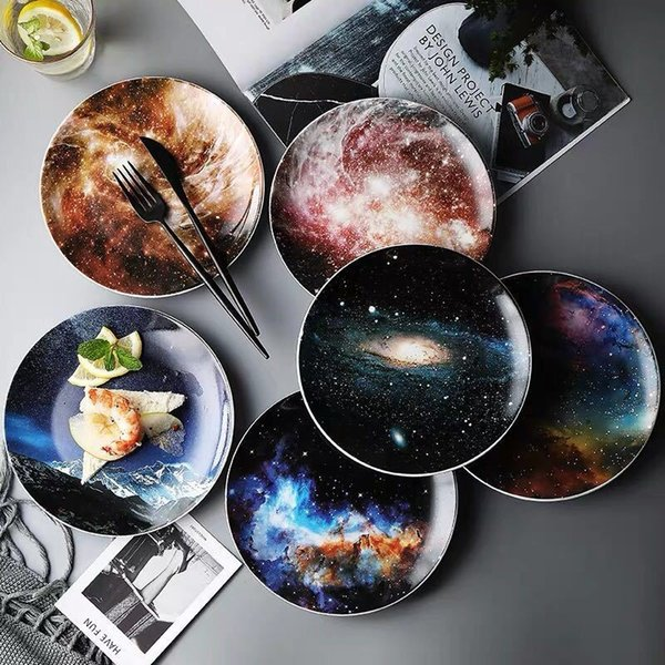 8 Inch Starry Universe Landscape Plate Set High Quality Ceramic Dishes Dessert Steak Bread Dinner Plates Sets Dish Kitchen Decor