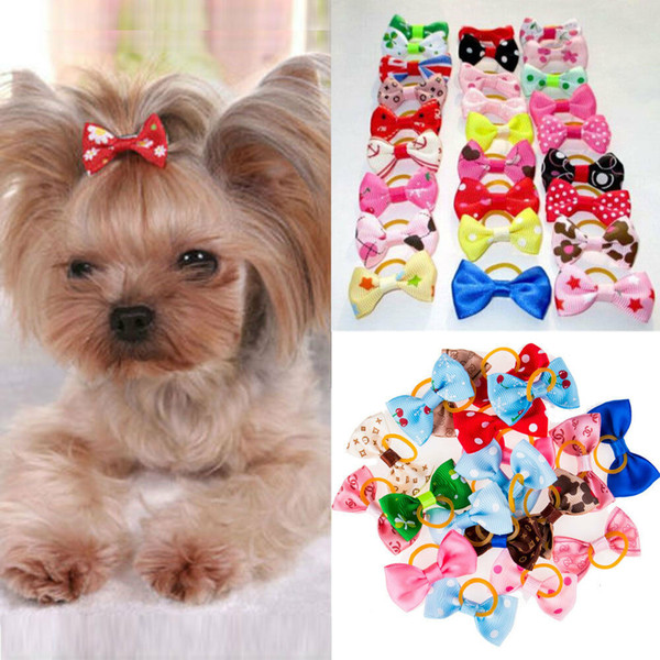 20 PCS/LOT Handmade Designer Pet Dog Accessories Grooming Hair Bows For Dogs