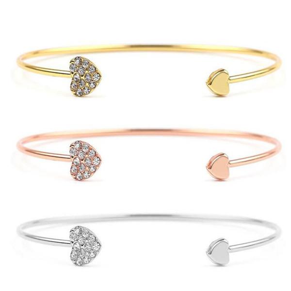 Fashion Women Double Love Rhinestone Heart Crystal Bracelet Bangle Wedding Chain