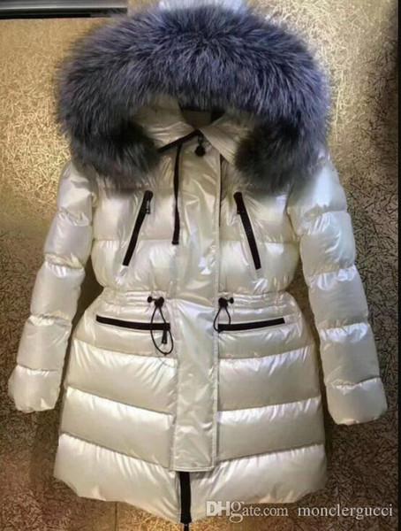 Mulheres de inverno Para Baixo Casaco de Pato Para Baixo Casacos Casacos Com Capuz Para Baixo Parkas Quente Magro Casaco Parka Fêmea real casacos de pele de raposa M850
