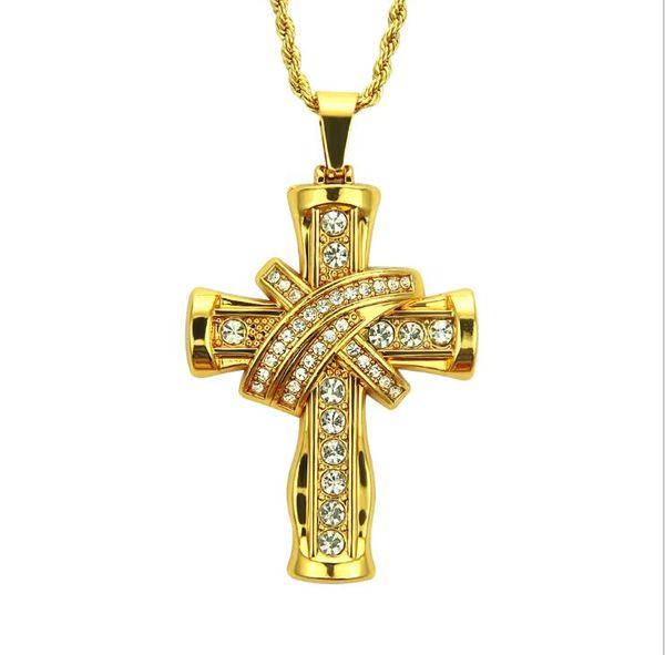 Men's hegemonic three-dimensional cross Style Pendant Necklace