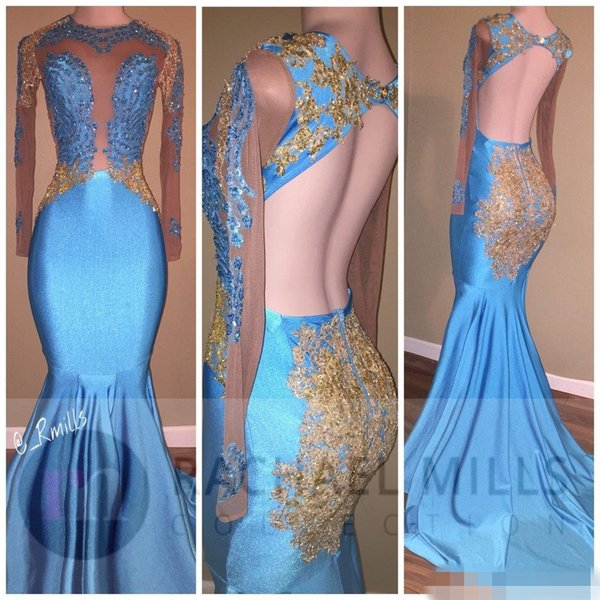 Appliques oro arabo Prom Dresses 2018 aperto indietro Sheer Jewel paillettes maniche lunghe abiti da sera Black Girls Celebrity Dress